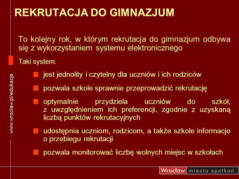W przypadku zagubienia kodu dostępu do systemu rekrutacji należy złożyć uzasadnioną, pisemną prośbę o powtórne wydanie kodu: W szkole podstawowej, która wydała kod – uczniowie wrocławskich szkół W gimnazjum I wyboru – uczniowie zameldowani poza Wrocławiem www.wroclaw.pl/edukacja KODY DOSTĘPU DO SYSTEMU