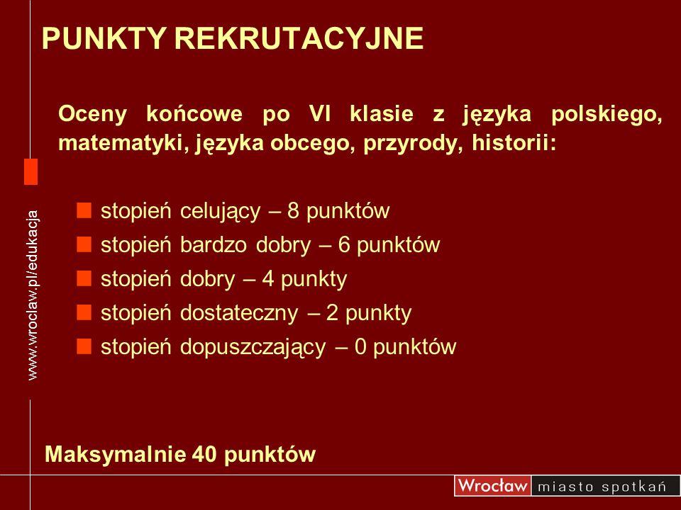 Oceny końcowe po VI klasie z języka polskiego, matematyki, języka obcego, przyrody, historii: stopień celujący – 8 punktów stopień bardzo dobry – 6 pu