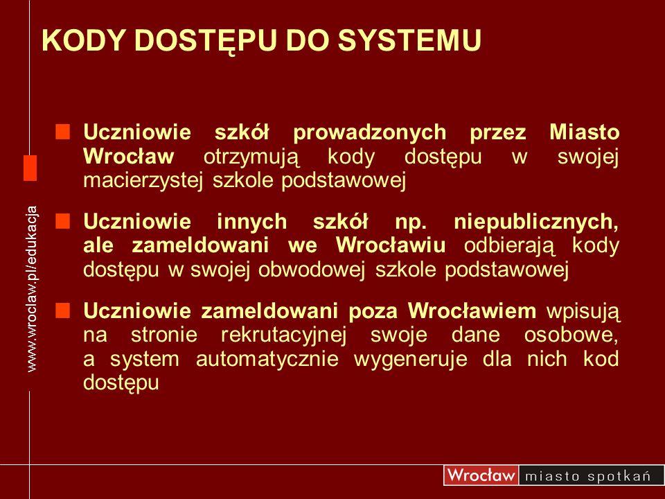 Uczniowie szkół prowadzonych przez Miasto Wrocław otrzymują kody dostępu w swojej macierzystej szkole podstawowej Uczniowie innych szkół np. niepublic