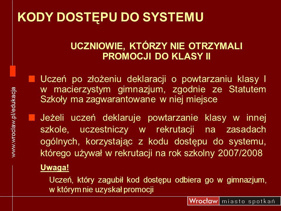 www.wroclaw.pl/edukacja UCZNIOWIE, KTÓRZY NIE OTRZYMALI PROMOCJI DO KLASY II Uczeń po złożeniu deklaracji o powtarzaniu klasy I w macierzystym gimnazj