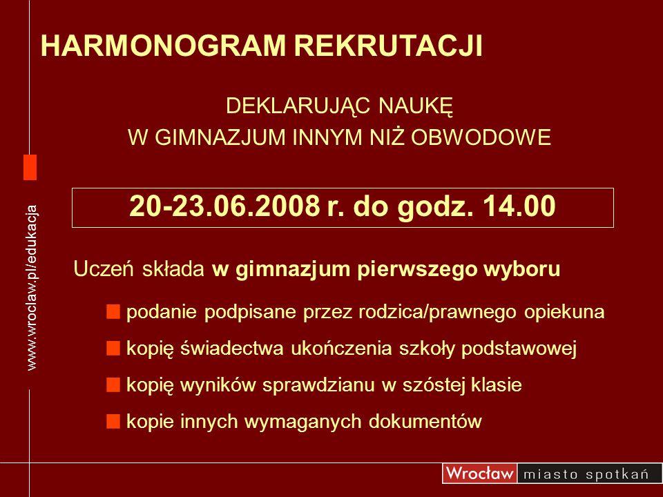 DEKLARUJĄC NAUKĘ W GIMNAZJUM INNYM NIŻ OBWODOWE HARMONOGRAM REKRUTACJI www.wroclaw.pl/edukacja Uczeń składa w gimnazjum pierwszego wyboru podanie podp