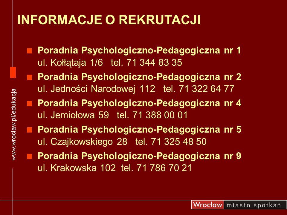 Poradnia Psychologiczno-Pedagogiczna nr 1 ul. Kołłątaja 1/6 tel. 71 344 83 35 Poradnia Psychologiczno-Pedagogiczna nr 2 ul. Jedności Narodowej 112 tel