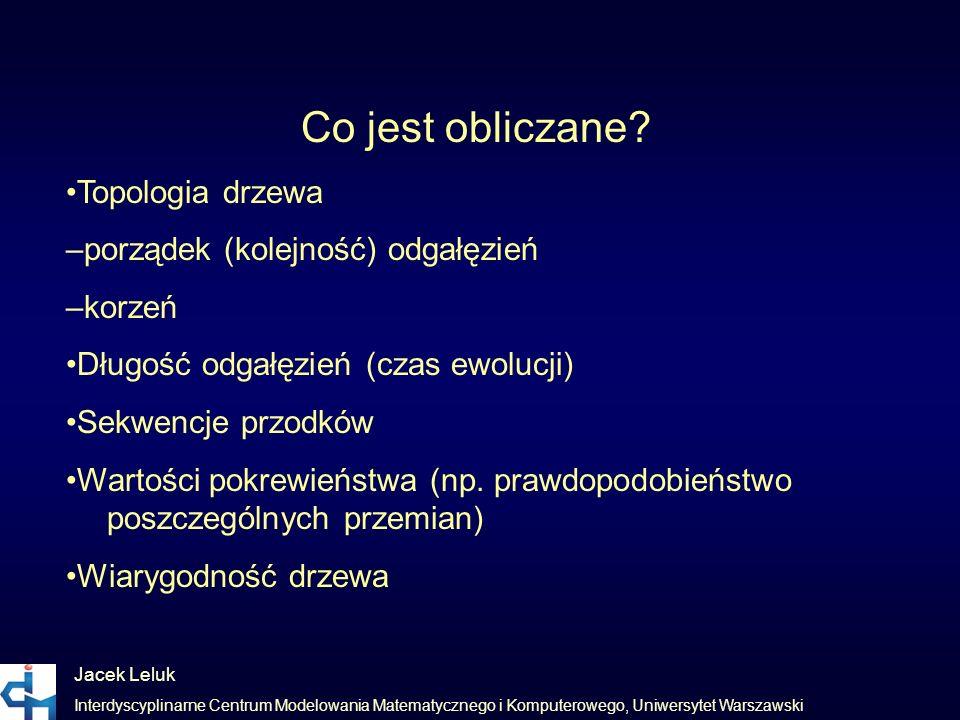 Jacek Leluk Interdyscyplinarne Centrum Modelowania Matematycznego i Komputerowego, Uniwersytet Warszawski Co jest obliczane? Topologia drzewa –porząde