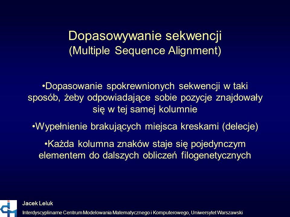 Jacek Leluk Interdyscyplinarne Centrum Modelowania Matematycznego i Komputerowego, Uniwersytet Warszawski Dopasowywanie sekwencji (Multiple Sequence A