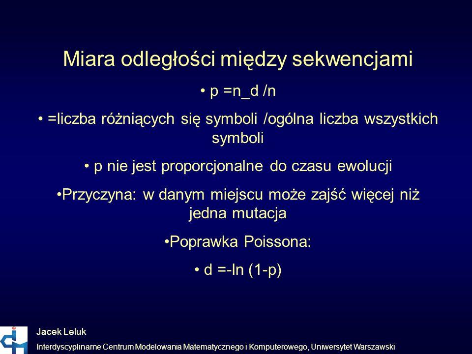 Jacek Leluk Interdyscyplinarne Centrum Modelowania Matematycznego i Komputerowego, Uniwersytet Warszawski Miara odległości między sekwencjami p =n_d /