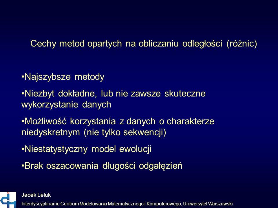 Jacek Leluk Interdyscyplinarne Centrum Modelowania Matematycznego i Komputerowego, Uniwersytet Warszawski Cechy metod opartych na obliczaniu odległośc