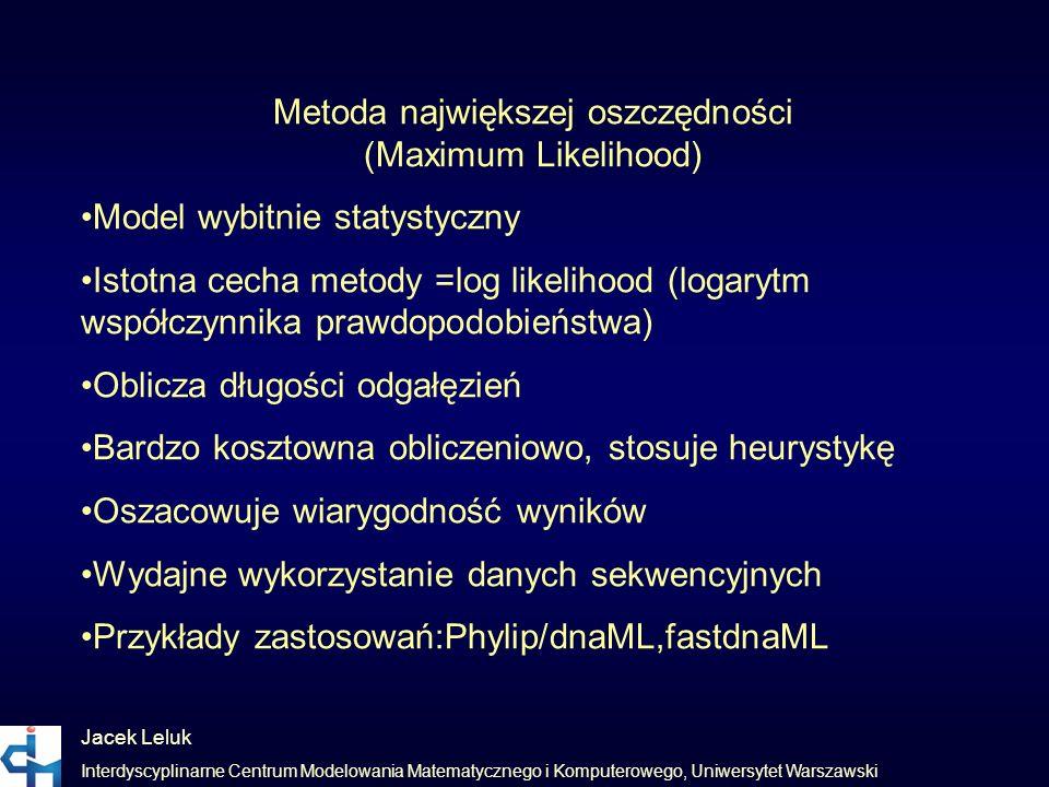Jacek Leluk Interdyscyplinarne Centrum Modelowania Matematycznego i Komputerowego, Uniwersytet Warszawski Metoda największej oszczędności (Maximum Lik