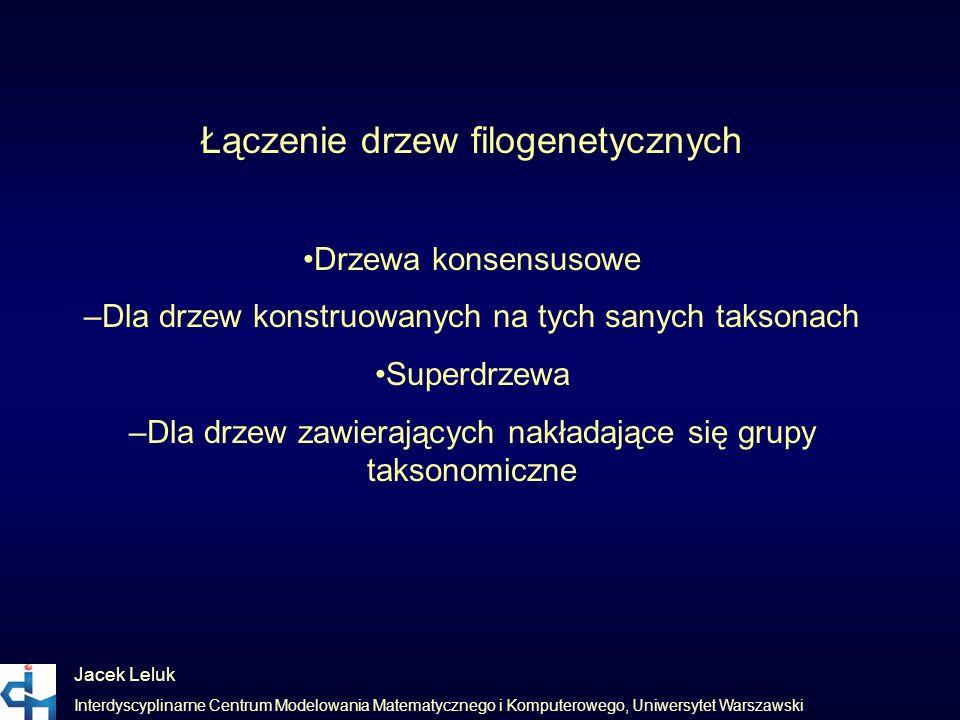 Jacek Leluk Interdyscyplinarne Centrum Modelowania Matematycznego i Komputerowego, Uniwersytet Warszawski Łączenie drzew filogenetycznych Drzewa konse