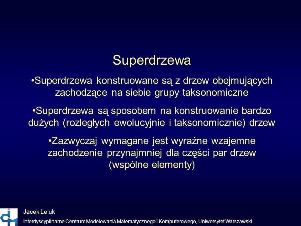 Jacek Leluk Interdyscyplinarne Centrum Modelowania Matematycznego i Komputerowego, Uniwersytet Warszawski Superdrzewa Superdrzewa konstruowane są z dr