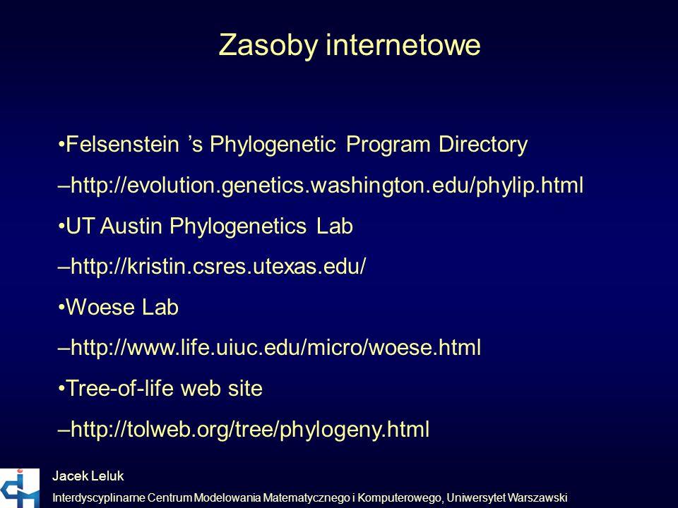 Jacek Leluk Interdyscyplinarne Centrum Modelowania Matematycznego i Komputerowego, Uniwersytet Warszawski Zasoby internetowe Felsenstein s Phylogeneti