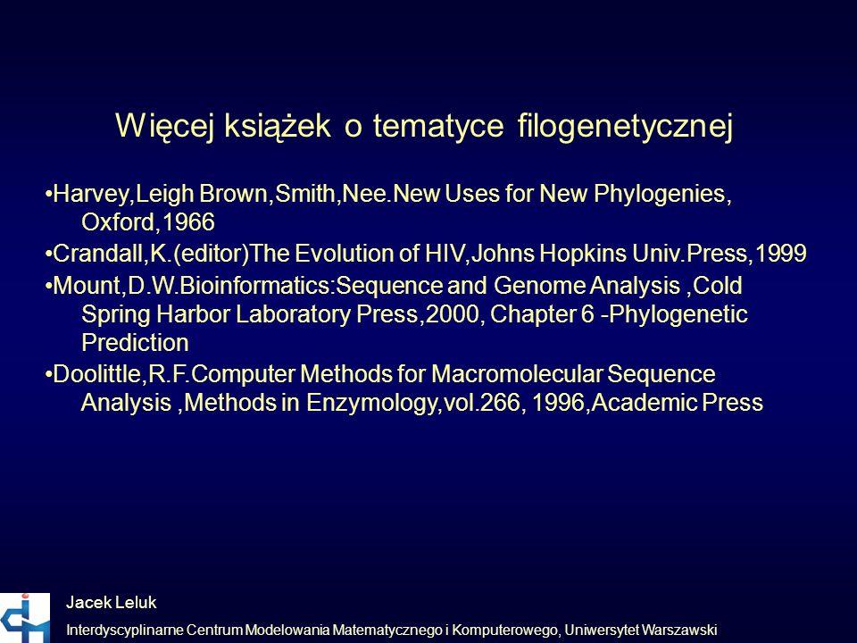 Jacek Leluk Interdyscyplinarne Centrum Modelowania Matematycznego i Komputerowego, Uniwersytet Warszawski Więcej książek o tematyce filogenetycznej Ha