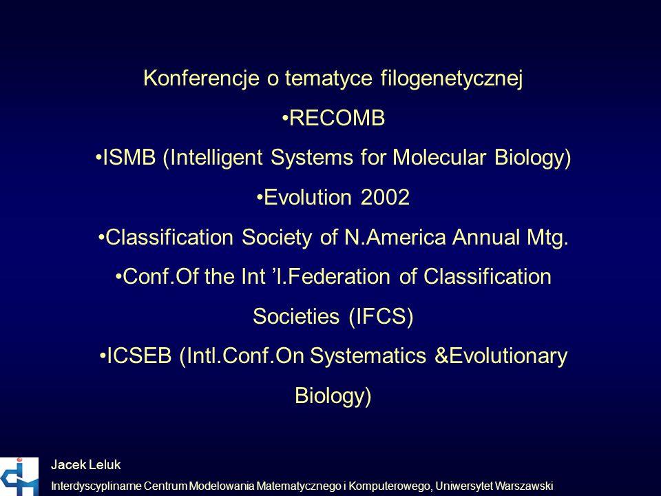 Jacek Leluk Interdyscyplinarne Centrum Modelowania Matematycznego i Komputerowego, Uniwersytet Warszawski Konferencje o tematyce filogenetycznej RECOM