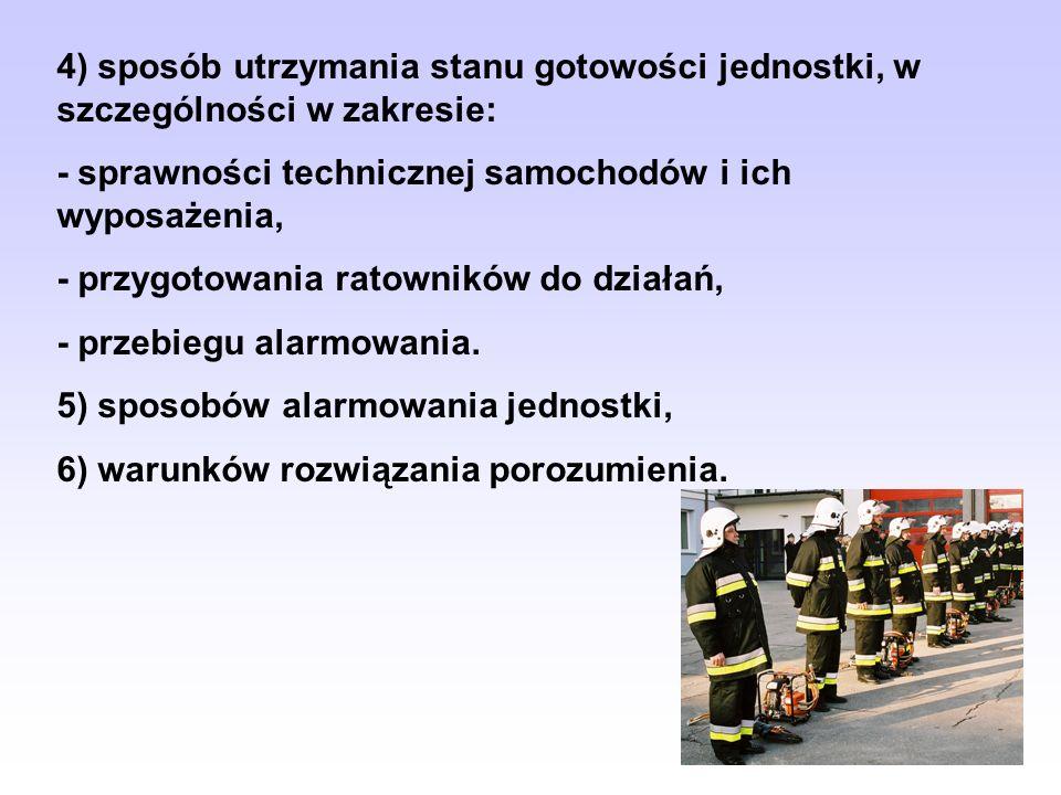 4) sposób utrzymania stanu gotowości jednostki, w szczególności w zakresie: - sprawności technicznej samochodów i ich wyposażenia, - przygotowania rat