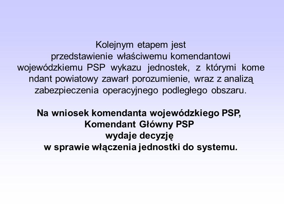 Kolejnym etapem jest przedstawienie właściwemu komendantowi wojewódzkiemu PSP wykazu jednostek, z którymi kome ndant powiatowy zawarł porozumienie, wr