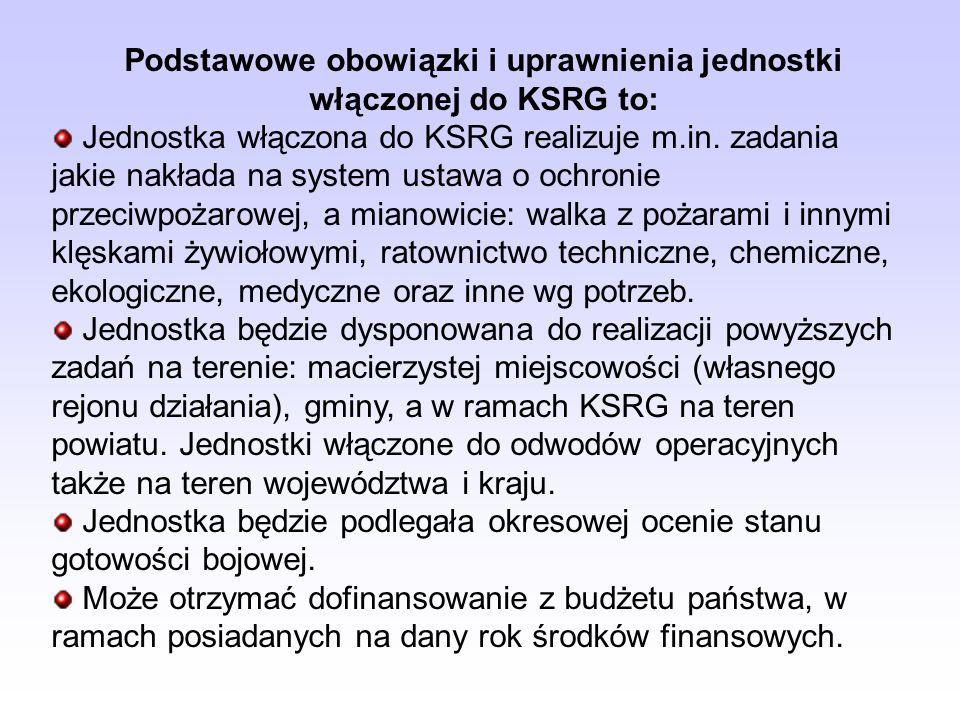 Podstawowe obowiązki i uprawnienia jednostki włączonej do KSRG to: Jednostka włączona do KSRG realizuje m.in. zadania jakie nakłada na system ustawa o