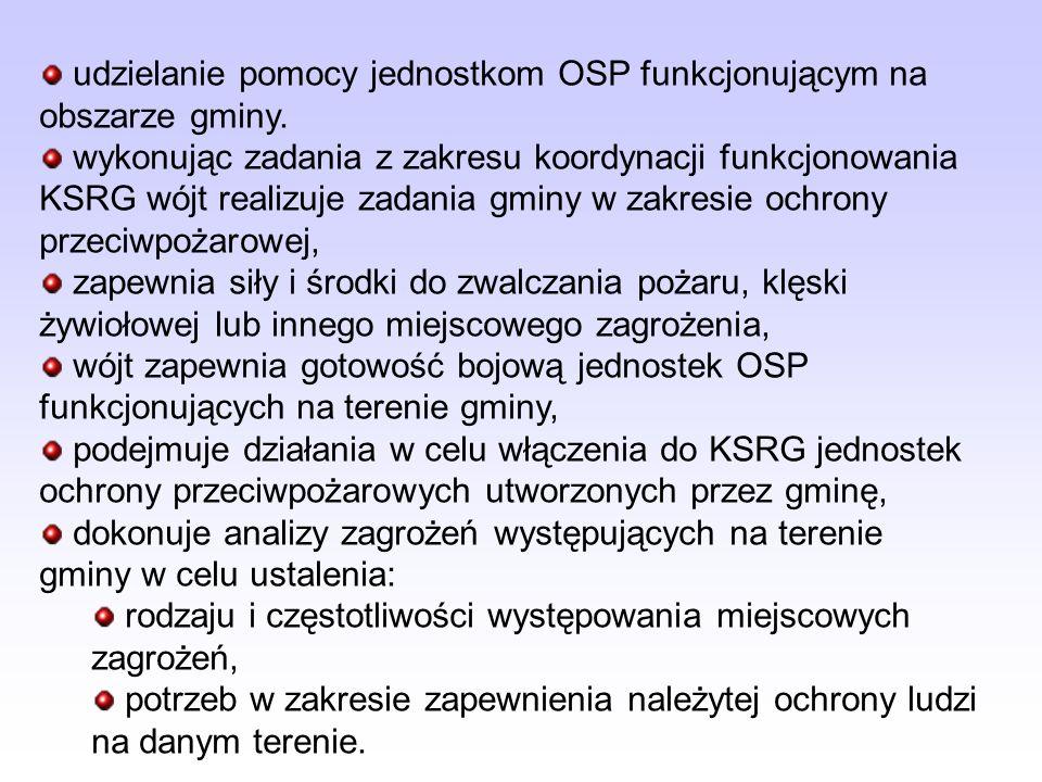 udzielanie pomocy jednostkom OSP funkcjonującym na obszarze gminy. wykonując zadania z zakresu koordynacji funkcjonowania KSRG wójt realizuje zadania