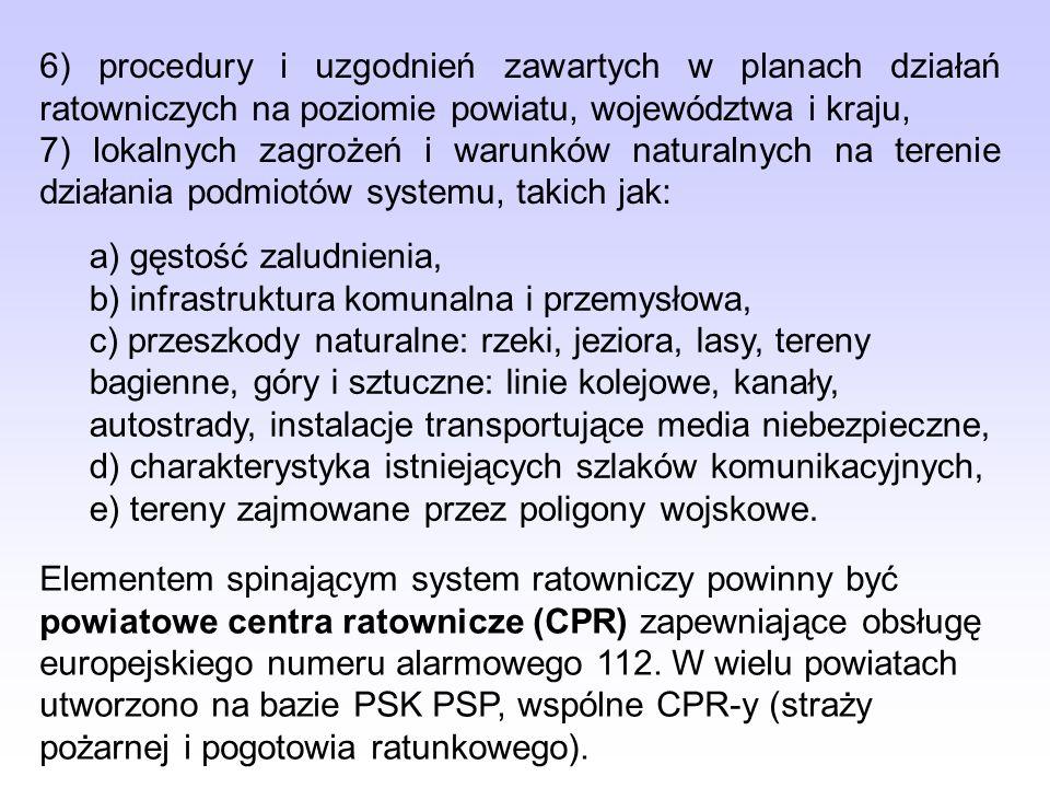 6) procedury i uzgodnień zawartych w planach działań ratowniczych na poziomie powiatu, województwa i kraju, 7) lokalnych zagrożeń i warunków naturalny