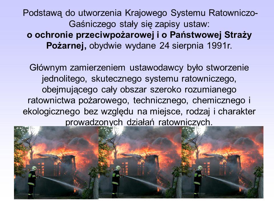 Podstawą do utworzenia Krajowego Systemu Ratowniczo- Gaśniczego stały się zapisy ustaw: o ochronie przeciwpożarowej i o Państwowej Straży Pożarnej, ob
