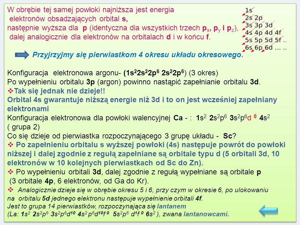 W obrębie tej samej powłoki najniższa jest energia elektronów obsadzających orbital s, następnie wyższa dla p (identyczna dla wszystkich trzech p x, p