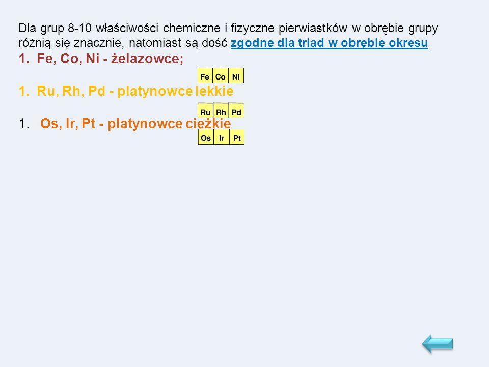 Dla grup 8-10 właściwości chemiczne i fizyczne pierwiastków w obrębie grupy różnią się znacznie, natomiast są dość zgodne dla triad w obrębie okresu 1