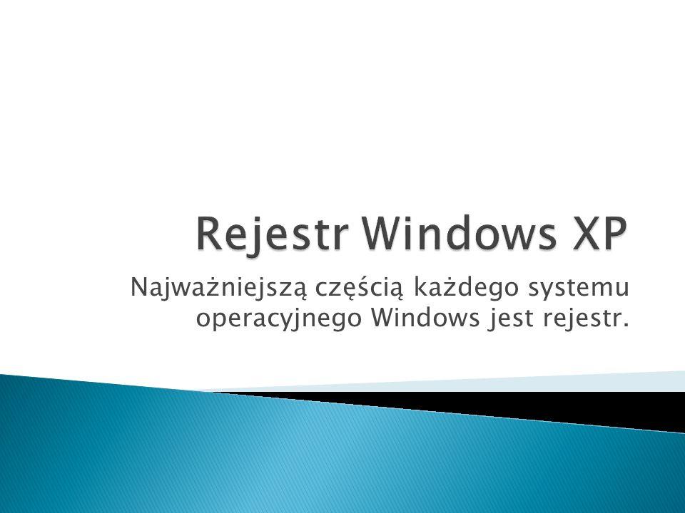 GENEZA REJESTRU: Inicjalizacja systemu Windows w wersji 3.1 opierała się na plikach: win.ini – zawierał podstawowe informacje dotyczące konfiguracji oprogramowania.