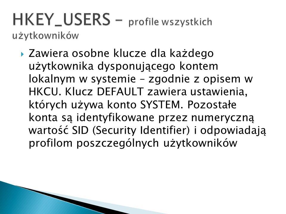 Zawiera osobne klucze dla każdego użytkownika dysponującego kontem lokalnym w systemie – zgodnie z opisem w HKCU. Klucz DEFAULT zawiera ustawienia, kt