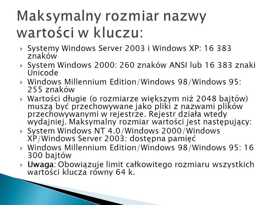 Systemy Windows Server 2003 i Windows XP: 16 383 znaków System Windows 2000: 260 znaków ANSI lub 16 383 znaki Unicode Windows Millennium Edition/Windo