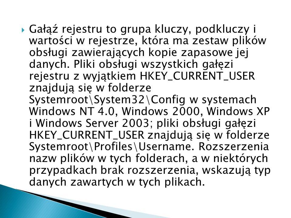 Gałąź rejestru to grupa kluczy, podkluczy i wartości w rejestrze, która ma zestaw plików obsługi zawierających kopie zapasowe jej danych. Pliki obsług