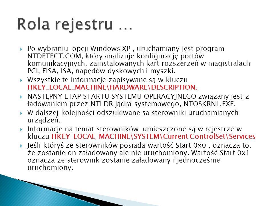 Po wybraniu opcji Windows XP, uruchamiany jest program NTDETECT.COM, który analizuje konfigurację portów komunikacyjnych, zainstalowanych kart rozszer