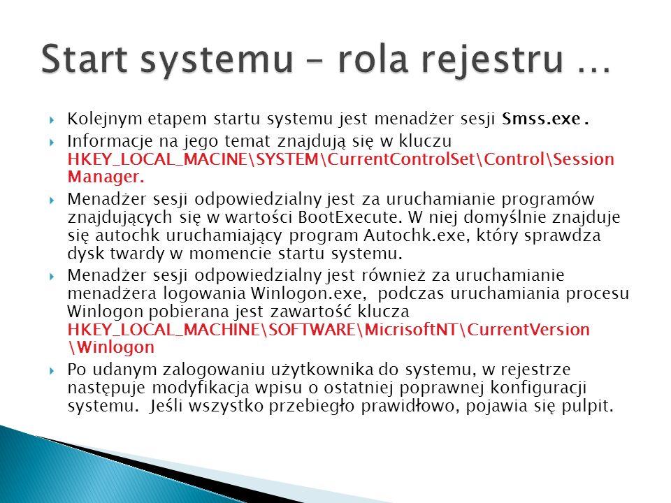 Kolejnym etapem startu systemu jest menadżer sesji Smss.exe. Informacje na jego temat znajdują się w kluczu HKEY_LOCAL_MACINE\SYSTEM\CurrentControlSet