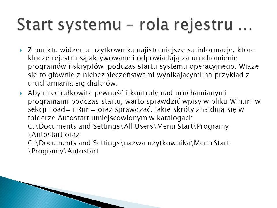 Rejestr zawiera mnogość informacji dotyczących systemu, urządzeń i aplikacji.