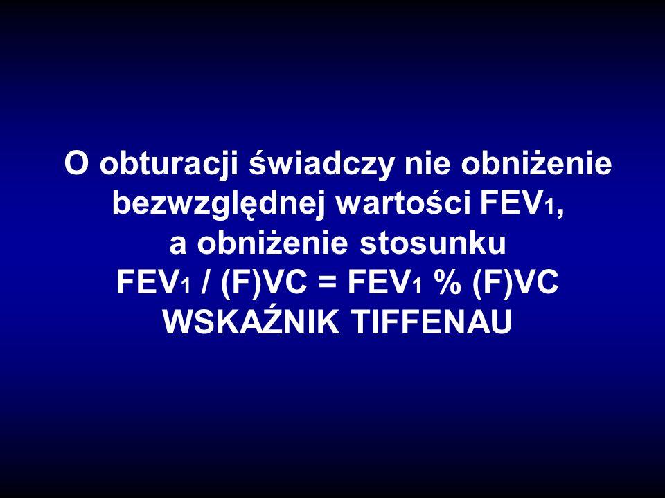 O obturacji świadczy nie obniżenie bezwzględnej wartości FEV 1, a obniżenie stosunku FEV 1 / (F)VC = FEV 1 % (F)VC WSKAŹNIK TIFFENAU