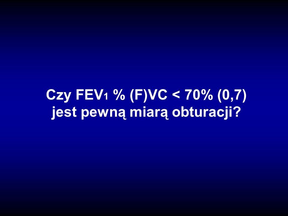 Czy FEV 1 % (F)VC < 70% (0,7) jest pewną miarą obturacji?