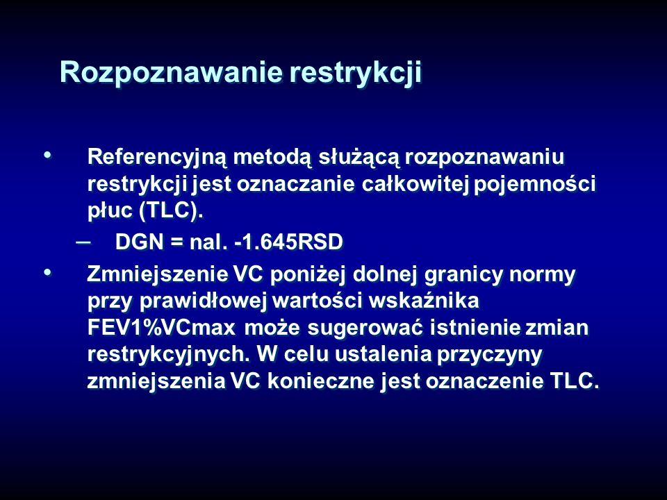 Rozpoznawanie restrykcji Referencyjną metodą służącą rozpoznawaniu restrykcji jest oznaczanie całkowitej pojemności płuc (TLC). – DGN = nal. -1.645RSD