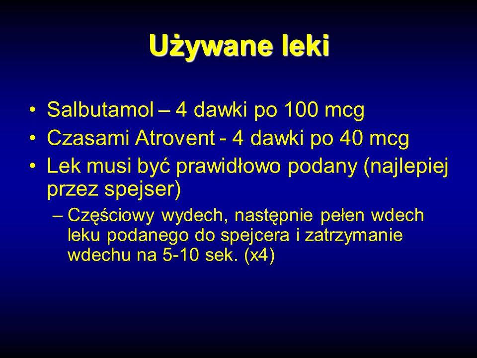Używane leki Salbutamol – 4 dawki po 100 mcg Czasami Atrovent - 4 dawki po 40 mcg Lek musi być prawidłowo podany (najlepiej przez spejser) –Częściowy