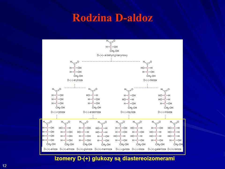 Rodzina D-aldoz D-(+)-alloza D-(+)-altroza D-(+)-glukoza D-(+)-mannoza D-(-)-guloza D-(-)-idoza D-(+)-galaktoza D-(+)-taloza Izomery D-(+) glukozy są diastereoizomerami D-(+)- aldehyd glicerynowy D-(-)-erytroza D-(-)-treoza D-(-)-ryboza D-(-)-arabinoza D-(-)-ksyloza D-(-)-liksoza 12