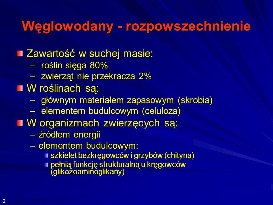 Węglowodany - rozpowszechnienie Zawartość w suchej masie: – roślin sięga 80% – zwierząt nie przekracza 2% W roślinach są: – głównym materiałem zapasowym (skrobia) – elementem budulcowym (celuloza) W organizmach zwierzęcych są: –źródłem energii –elementem budulcowym: szkielet bezkręgowców i grzybów (chityna) pełnią funkcję strukturalną u kręgowców (glikozoaminoglikany) 2