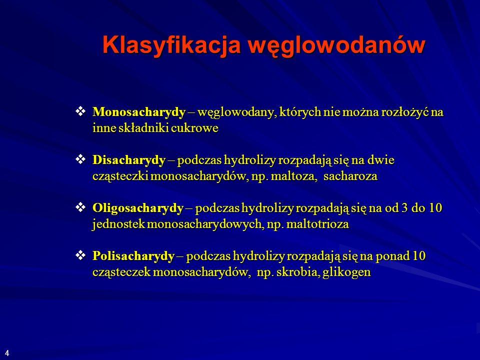 Klasyfikacja węglowodanów Monosacharydy – węglowodany, których nie można rozłożyć na inne składniki cukrowe Monosacharydy – węglowodany, których nie można rozłożyć na inne składniki cukrowe Disacharydy – podczas hydrolizy rozpadają się na dwie cząsteczki monosacharydów, np.