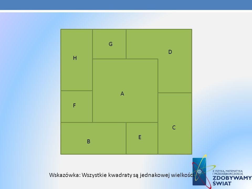 Wskazówka: Wszystkie kwadraty są jednakowej wielkości A D C E B F G H