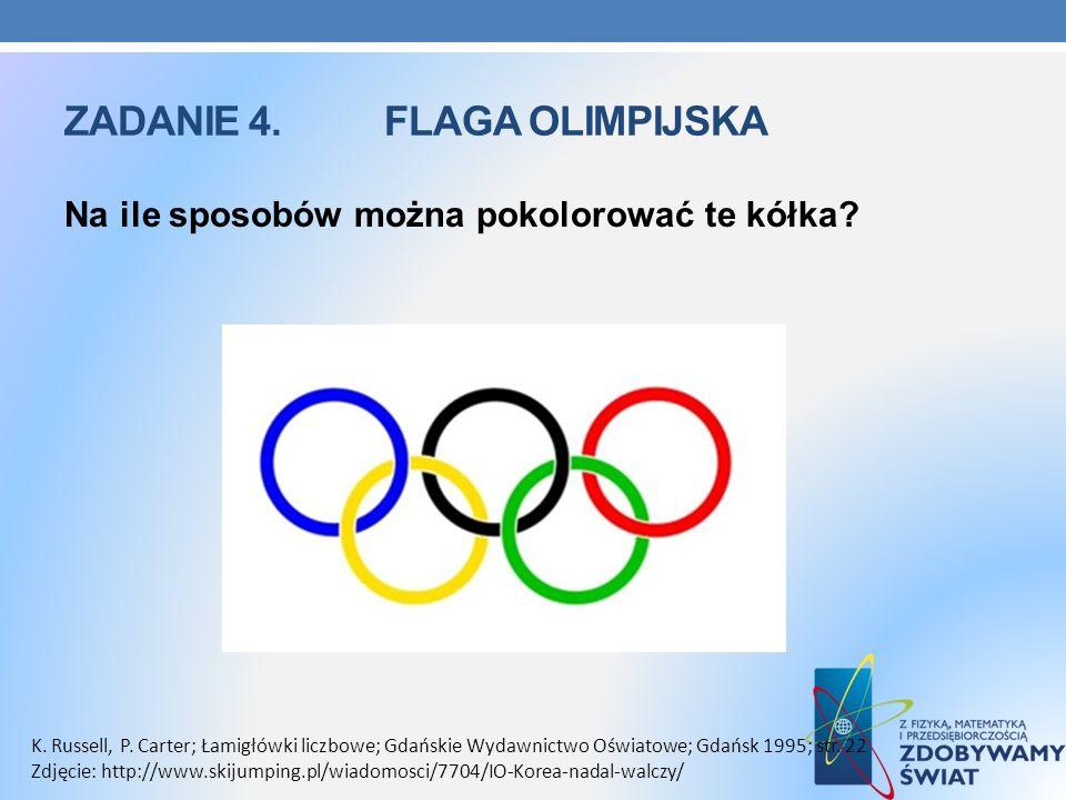 ZADANIE 4. FLAGA OLIMPIJSKA Na ile sposobów można pokolorować te kółka? K. Russell, P. Carter; Łamigłówki liczbowe; Gdańskie Wydawnictwo Oświatowe; Gd