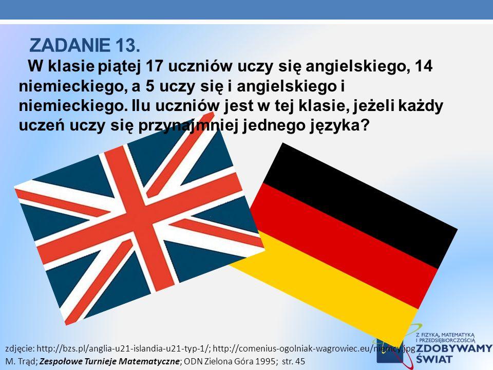 W klasie piątej 17 uczniów uczy się angielskiego, 14 niemieckiego, a 5 uczy się i angielskiego i niemieckiego. Ilu uczniów jest w tej klasie, jeżeli k