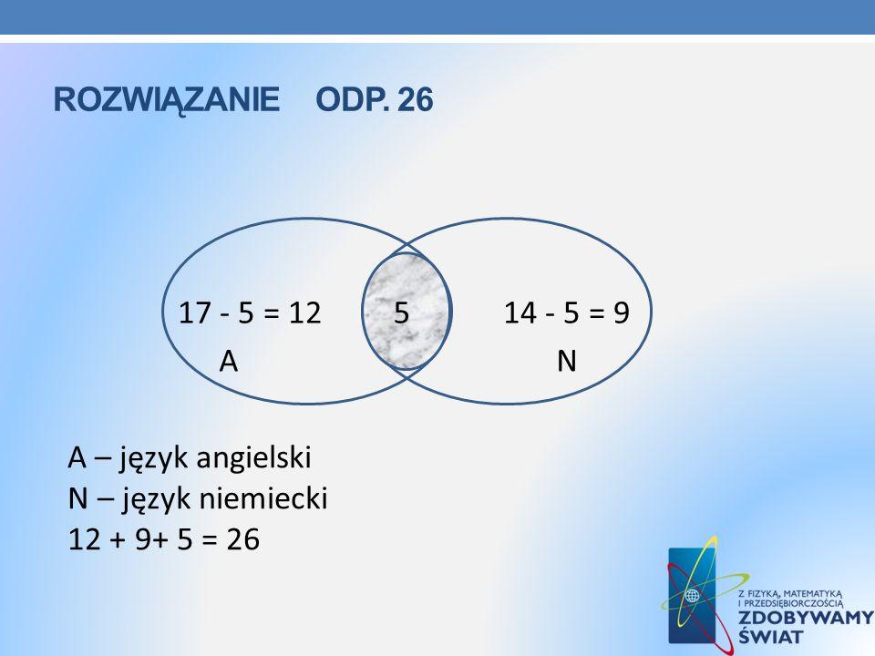 ROZWIĄZANIE ODP. 26 A – język angielski N – język niemiecki 12 + 9+ 5 = 26 17 - 5 = 12 5 14 - 5 = 9 A N 5