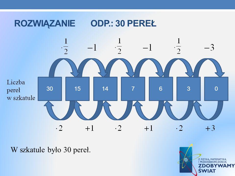 ROZWIĄZANIE ODP.: 30 PEREŁ 3015147630 Liczba pereł w szkatule W szkatule było 30 pereł.