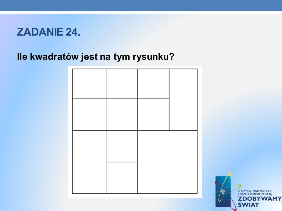 ZADANIE 24. Ile kwadratów jest na tym rysunku?
