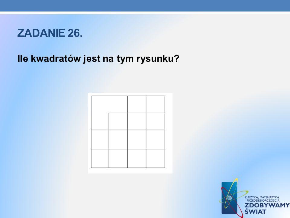 ZADANIE 26. Ile kwadratów jest na tym rysunku?