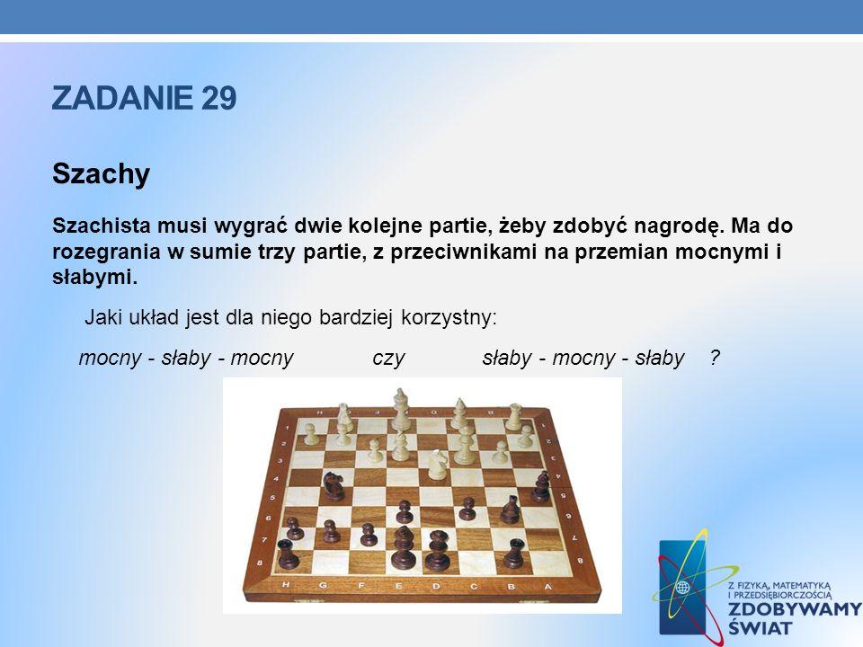ZADANIE 29 Szachy Szachista musi wygrać dwie kolejne partie, żeby zdobyć nagrodę. Ma do rozegrania w sumie trzy partie, z przeciwnikami na przemian mo