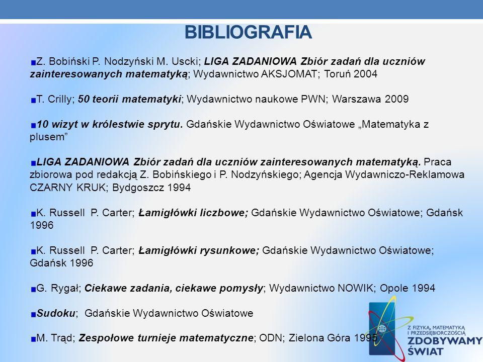 BIBLIOGRAFIA Z. Bobiński P. Nodzyński M. Uscki; LIGA ZADANIOWA Zbiór zadań dla uczniów zainteresowanych matematyką; Wydawnictwo AKSJOMAT; Toruń 2004 T