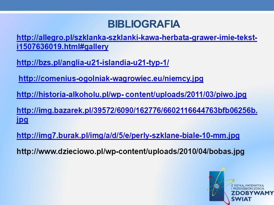 BIBLIOGRAFIA http://allegro.pl/szklanka-szklanki-kawa-herbata-grawer-imie-tekst- i1507636019.html#gallery http://bzs.pl/anglia-u21-islandia-u21-typ-1/