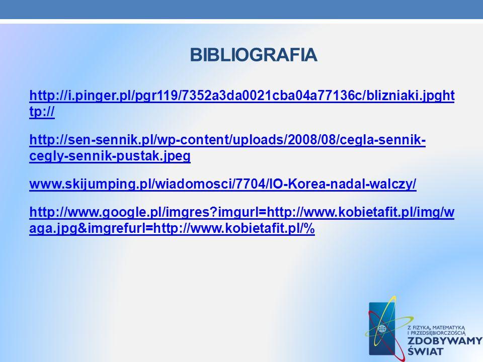 BIBLIOGRAFIA http://i.pinger.pl/pgr119/7352a3da0021cba04a77136c/blizniaki.jpght tp:// http://sen-sennik.pl/wp-content/uploads/2008/08/cegla-sennik- ce