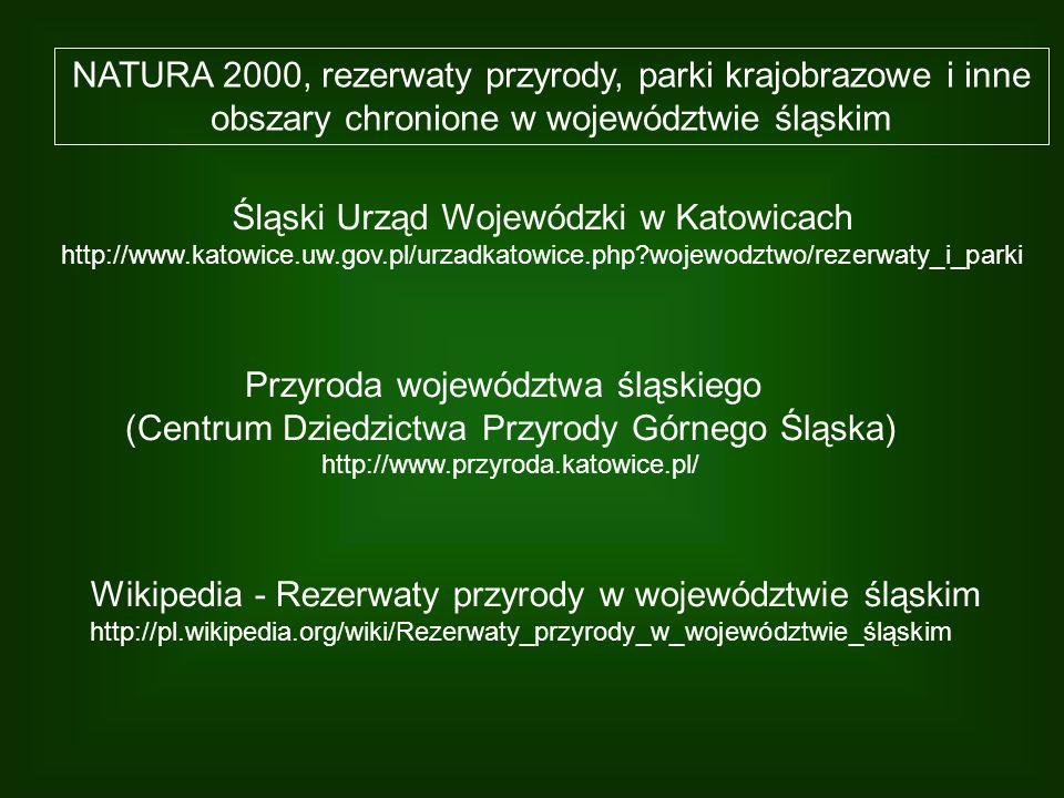 NATURA 2000, rezerwaty przyrody, parki krajobrazowe i inne obszary chronione w województwie śląskim Śląski Urząd Wojewódzki w Katowicach http://www.ka